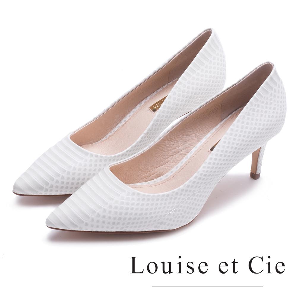 Louise et Cie 真皮蛇紋尖頭高跟鞋-白色