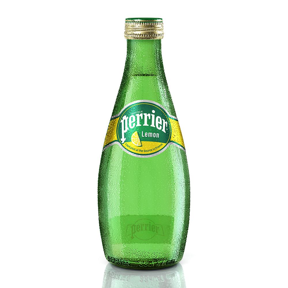 法國Perrier 氣泡天然礦泉水-檸檬口味 玻璃瓶(330mlx24入)