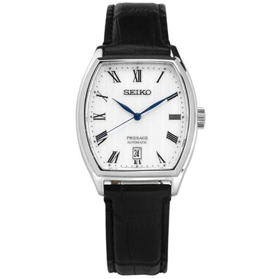 SEIKO 精工 PRESAGE 機械錶自動上鍊藍寶石水晶玻璃牛皮手錶-銀x黑/37mm