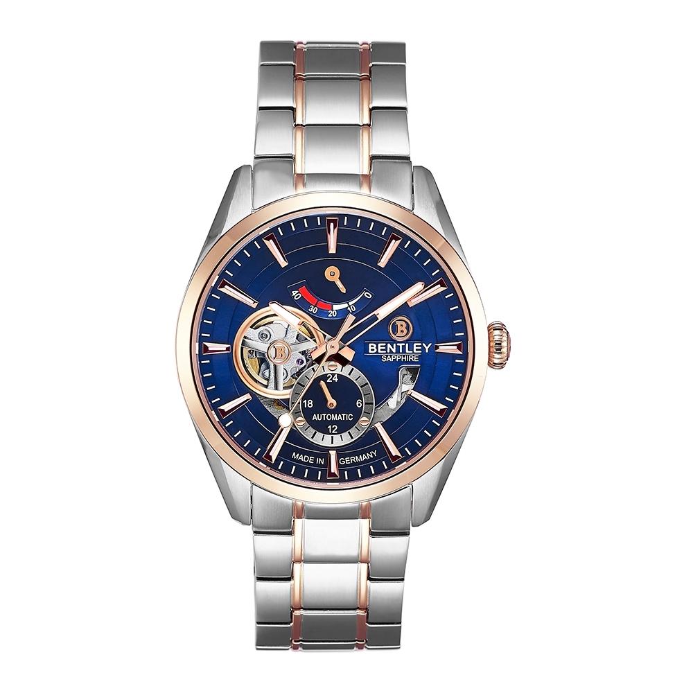BENTLEY賓利 活力動芯系列 精緻品味機械錶-藍x玫瑰金銀/41mm