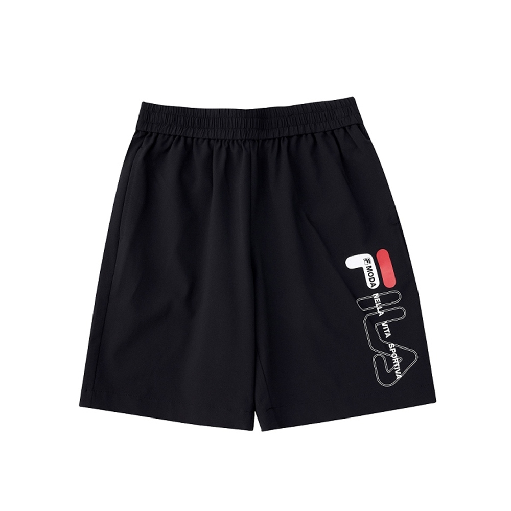 FILA KIDS 童平織5分褲-黑 1SHV-4908-BK
