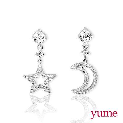 YUME - 純銀夾式-星星月亮耳環