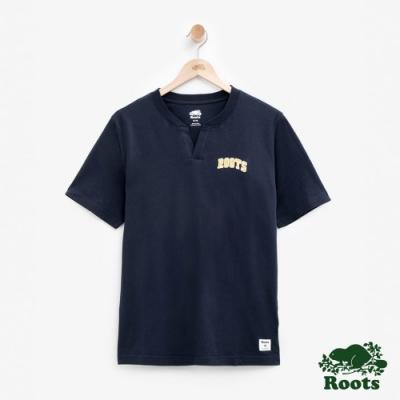 男裝Roots 原創開襟短袖T恤-藍