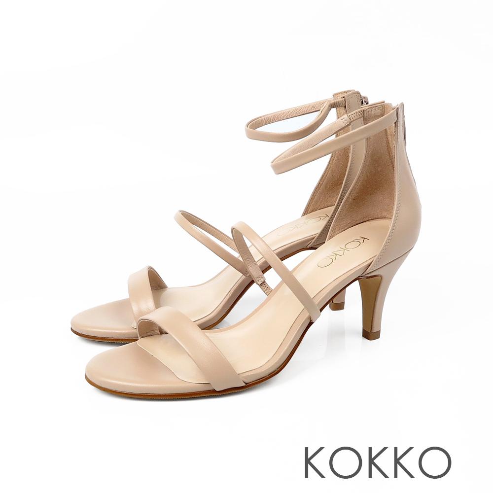 KOKKO凡爾賽玫瑰細帶羊皮高跟涼鞋奶茶裸