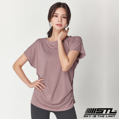 STL Soft Stretch Modal 韓國莫代落肩短袖運動上衣 乾燥玫瑰色