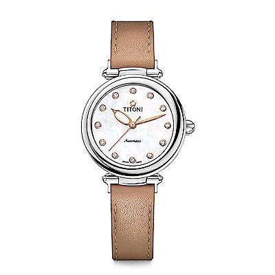 TITONI瑞士梅花錶 炫美時尚快拆系列-不鏽鋼/珍珠母貝/焦糖棕皮帶/33.5mm