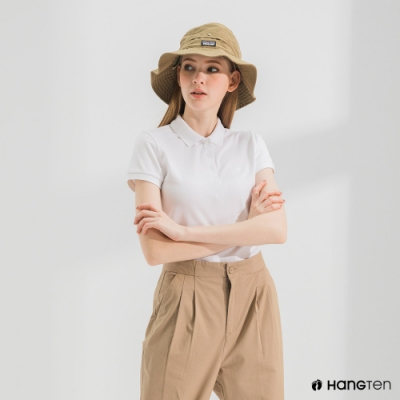 Hang Ten-女裝-腳丫短袖POLO衫-白色