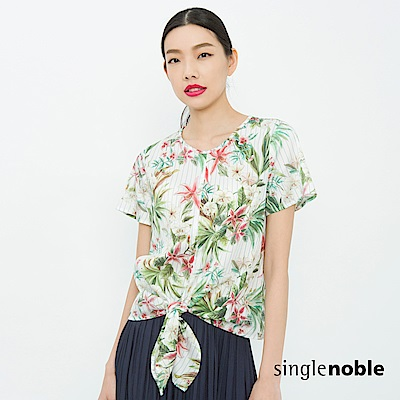 獨身貴族 盛夏觀點熱帶印花綁帶上衣(2色)