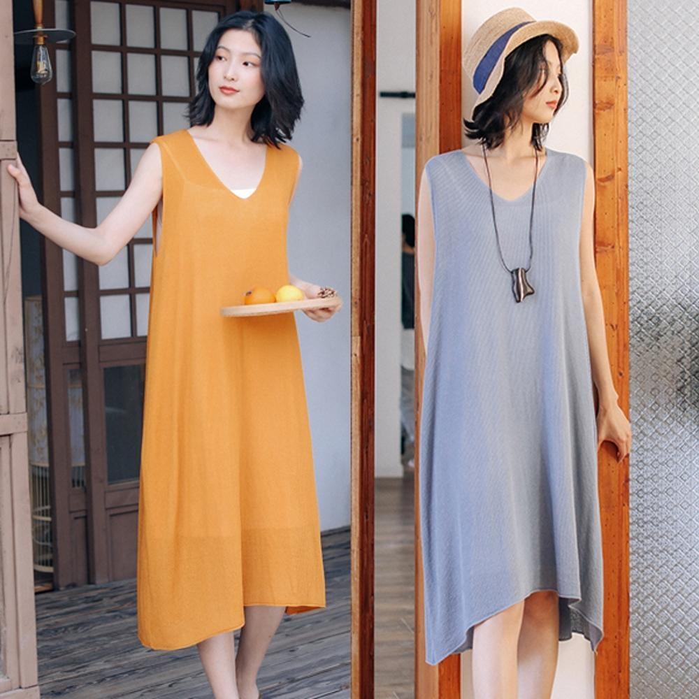 洋裝-V領針織寬鬆中長版無袖背心裙2色-設計所在