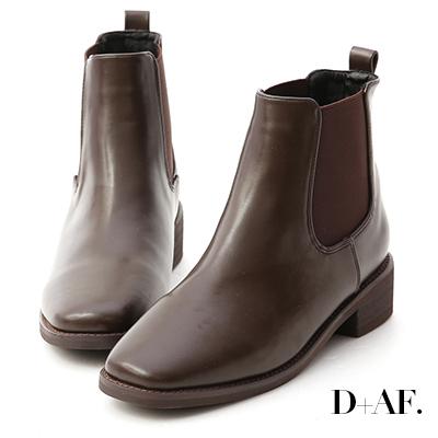 D+AF 率性指標.方頭低跟切爾西短靴*咖