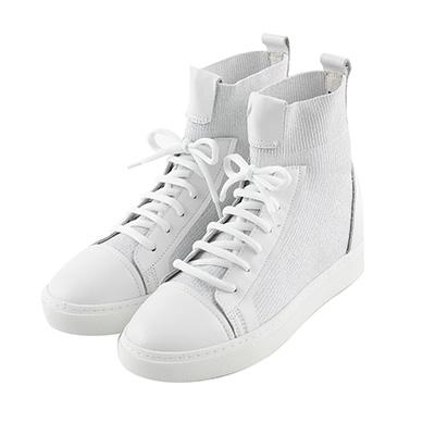 BESO 潮流之星 飛織布高筒拳擊休閒鞋~白