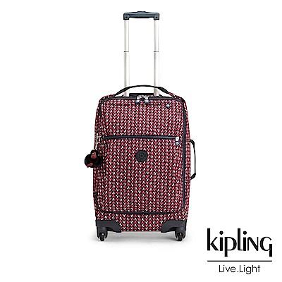 Kipling 時尚輕旅行李箱21吋 磚紅幾何印花-大
