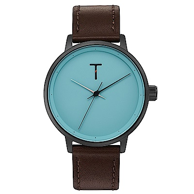 TYLOR Dank簡約質感皮革手錶-藍綠X咖啡/40mm
