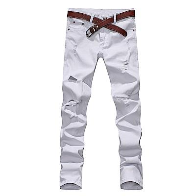 BuyGlasses 窄身破壞刀割素色牛仔褲