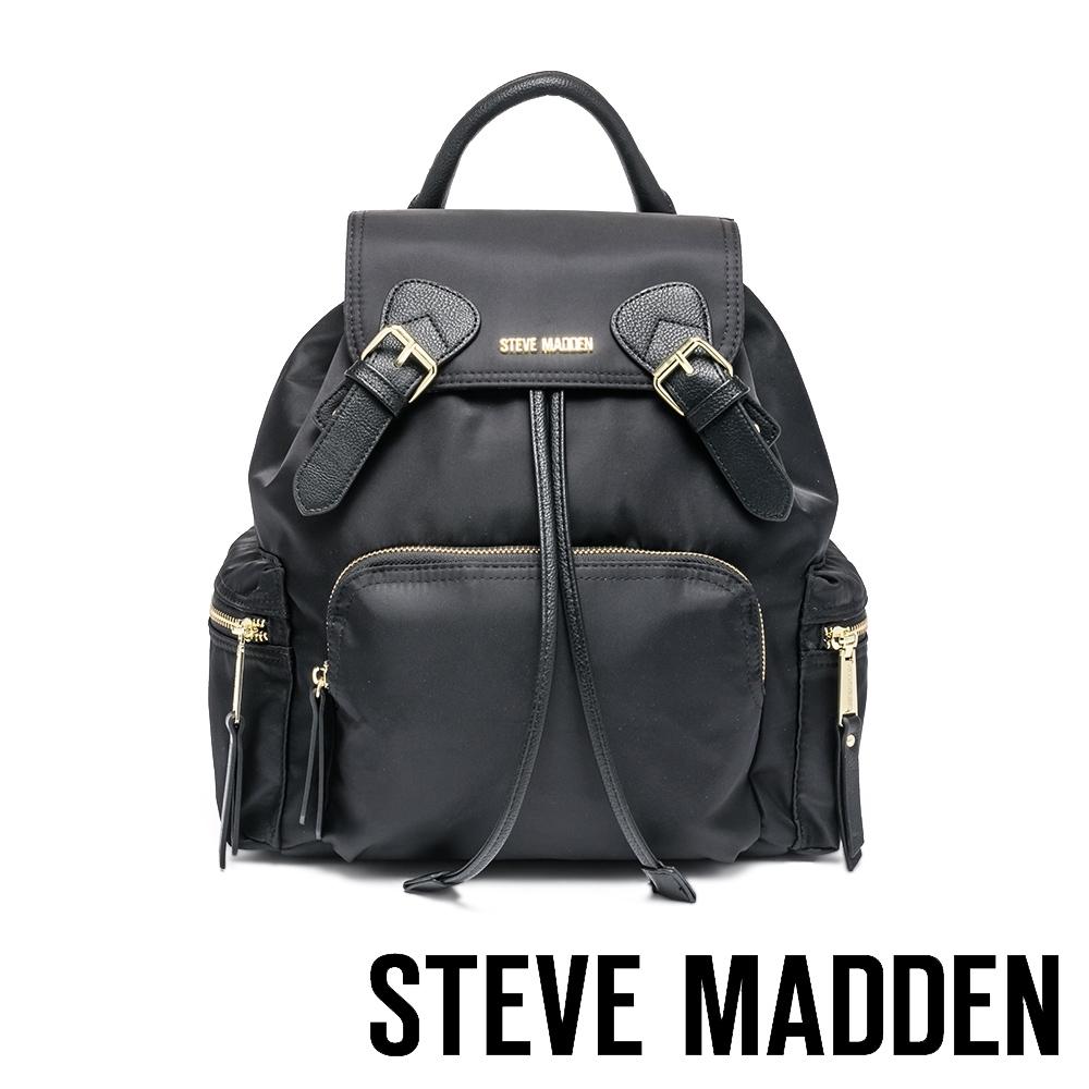 STEVE MADDEN-BSOLLY 時尚有型 超大容量軍旅後背包-黑色