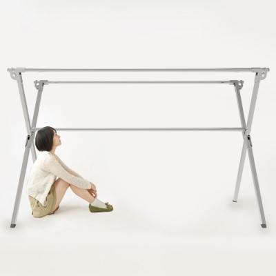 創新重力鎖不鏽鋼X型2.4米三桿伸縮曬衣架