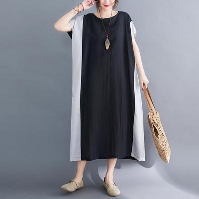 米蘭精品 連身裙短袖洋裝-拼色棉麻休閒長版女裙子73xz6