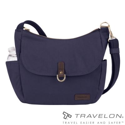 【Travelon美國防盜包】COURIER防割鋼網RFID斜肩背托特包TL-33303靛藍/休閒旅遊包