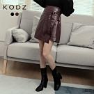 東京著衣-KODZ 時髦街拍腰帶一片式高腰A字皮質短裙-S.M.L(共二色)