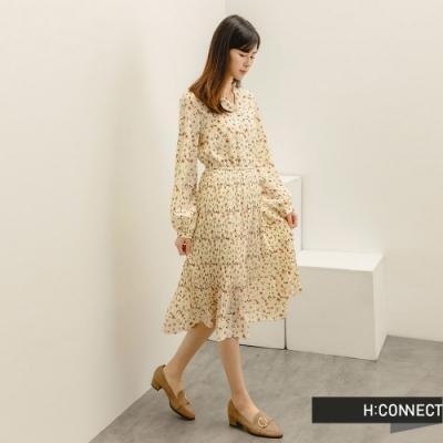 H:CONNECT 韓國品牌 女裝 -滿版碎花皺褶長洋裝-米色