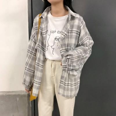 La-Belleza格紋燈籠袖開釦假口袋薄料棉麻襯衫外套