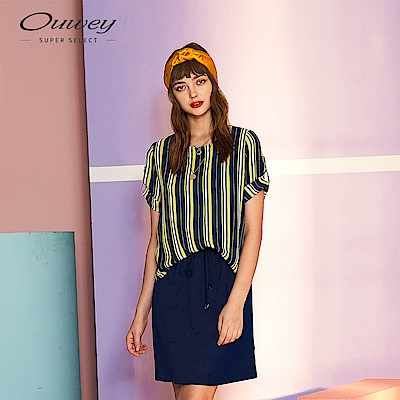 OUWEY歐薇 假兩件撞色條紋洋裝(藍)