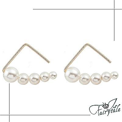 iSFairytale伊飾童話 三角鐵之音 幾何珍珠勾式耳環 2色可選