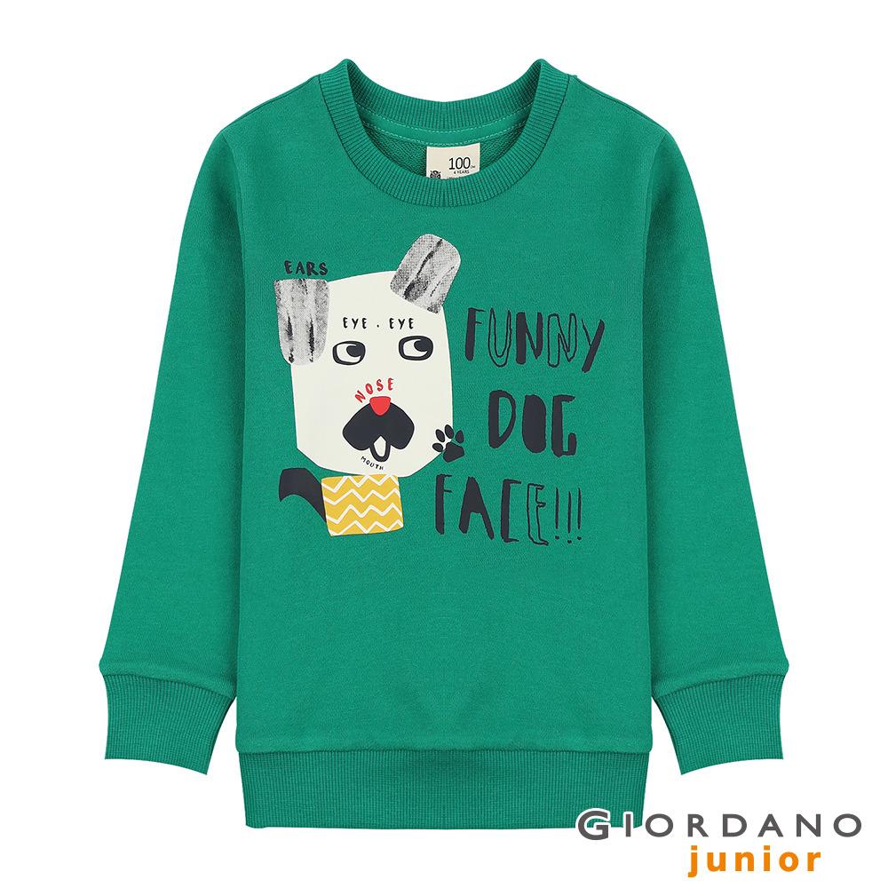 GIORDANO 童裝童趣印花長袖T恤-52 海峽綠 @ Y!購物
