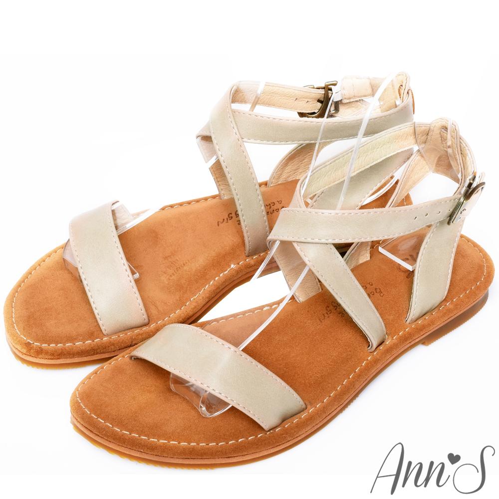 Ann'S水洗牛皮-復古氣息交叉寬版平底涼鞋-杏