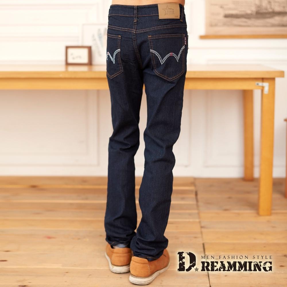 Dreamming 時尚W刺繡純色伸縮小直筒牛仔褲-共二色 (深藍)