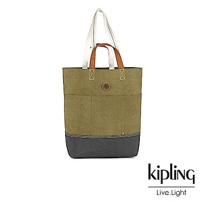 Kipling 卡其墨綠撞色雙提帶側背包-HOONGRY