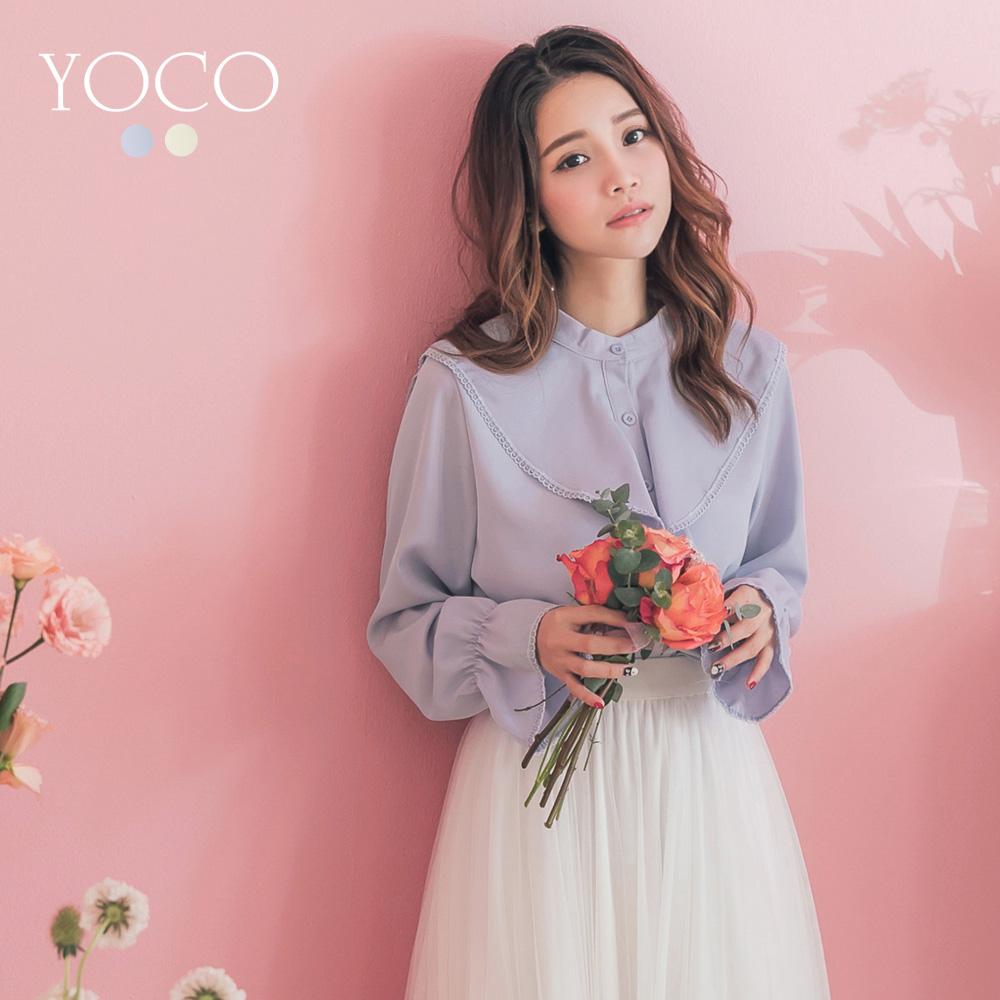 東京著衣-YOCO 柔美蕾絲滾邊垂墜波浪領排釦雪紡上衣(共兩色)