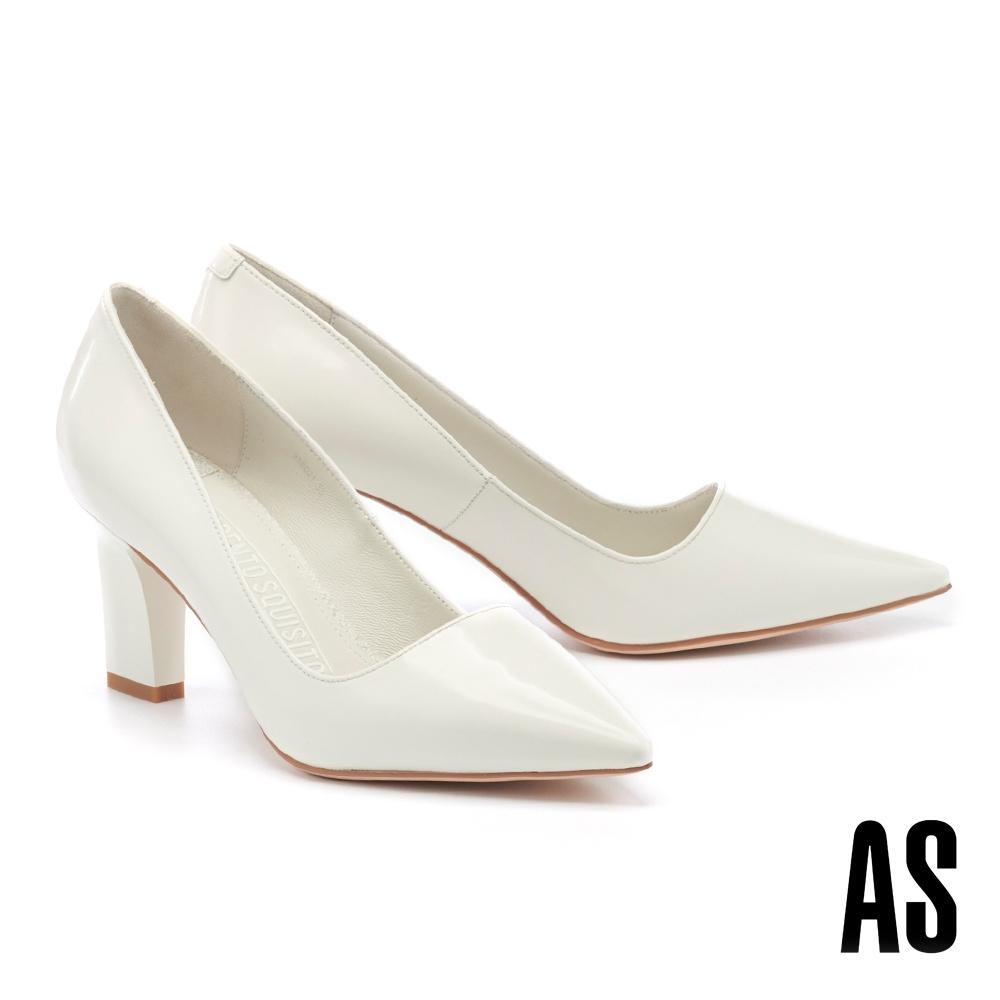 高跟鞋 AS 極簡優雅純色牛皮尖頭高跟鞋-白