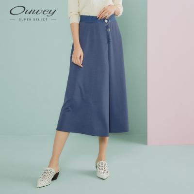 OUWEY歐薇 典雅挺版彈性造型寬褲(黑/藍)