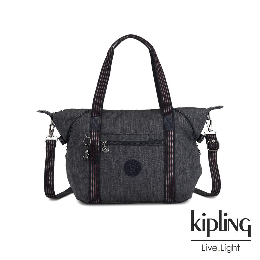 Kipling 未來感極簡風深灰丹寧手提側背包-ART