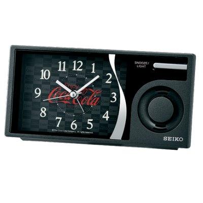 日本 SEIKO 可口可樂聯名 滑動式秒針 音樂鬧鐘(QHP901K)黑/15X7.5cm