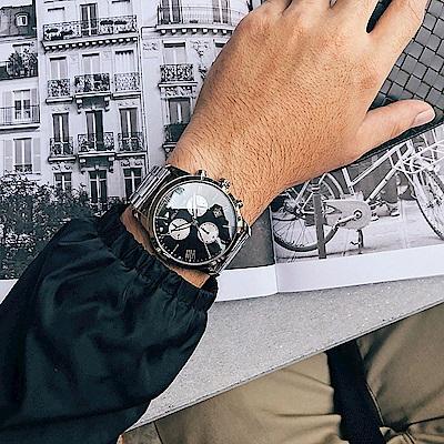RELAX TIME RT67 飛行者計時手錶(RT-67-1)-黑x銀/45mm