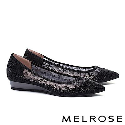 低跟鞋 MELROSE 優雅別致晶鑽點綴蕾絲網紗尖頭楔型低跟鞋-黑