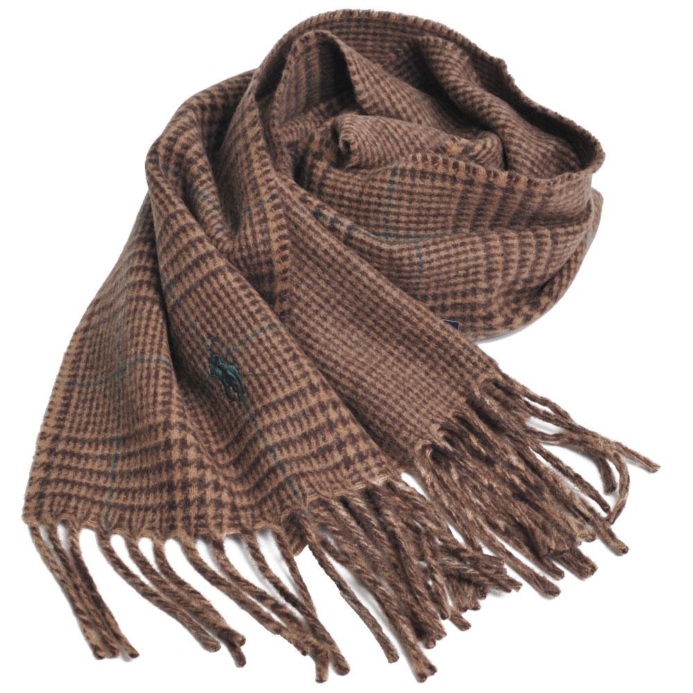 RALPH LAUREN POLO 義大利製小馬刺繡雙面配方格紋羊毛圍巾(駝色系)GUCCI
