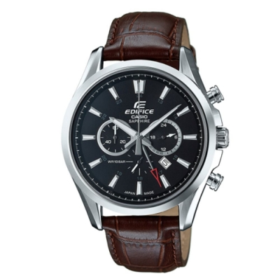 CASIO卡西歐 三針三眼簡約時尚皮帶錶(EFB-504JL-1A)