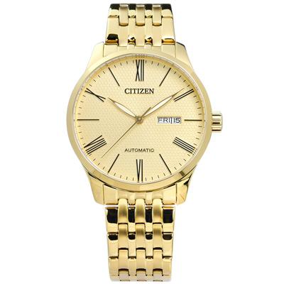 CITIZEN 自動上鍊礦石強化玻璃日期星期機械錶(NH8352-53P)-鍍金/40mm