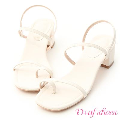 D+AF 氣質品味.一字套指細帶低跟涼鞋*白