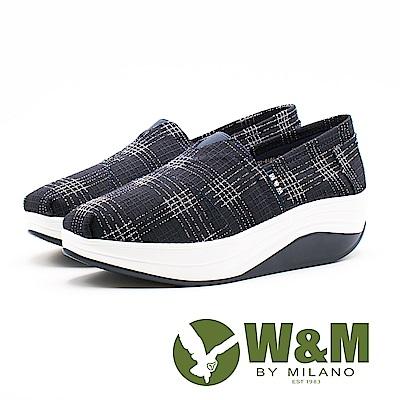 W&M BOUNCE編織風 厚底休閒女鞋-藍底白格(另有黑底紅格)