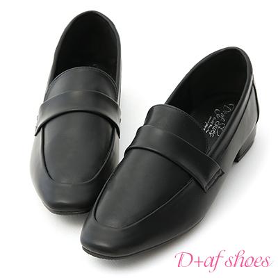 D+AF 質感印象.簡約方頭低跟樂福鞋*黑