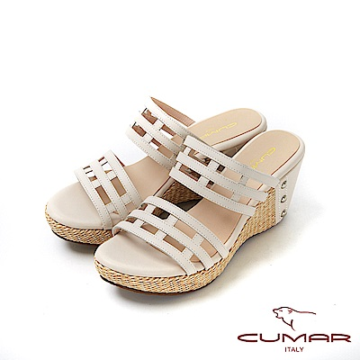 CUMAR普羅旺斯莊園- 鏤空一字帶草編楔型台涼拖鞋-米白