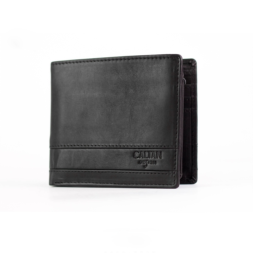 CALTAN-男用皮革壓飾真皮簡約短夾-071695bk