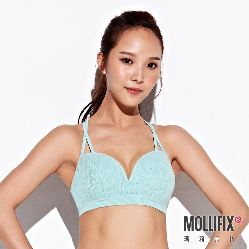 Mollifix 瑪莉菲絲 A++交錯雙肩帶美胸BRA (薄荷綠)
