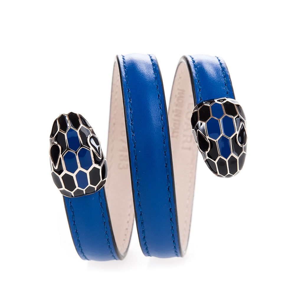 BVLGARI 寶格麗 Serpenti系琺瑯雙蛇頭環繞式手環 (水晶紫菀色/S)