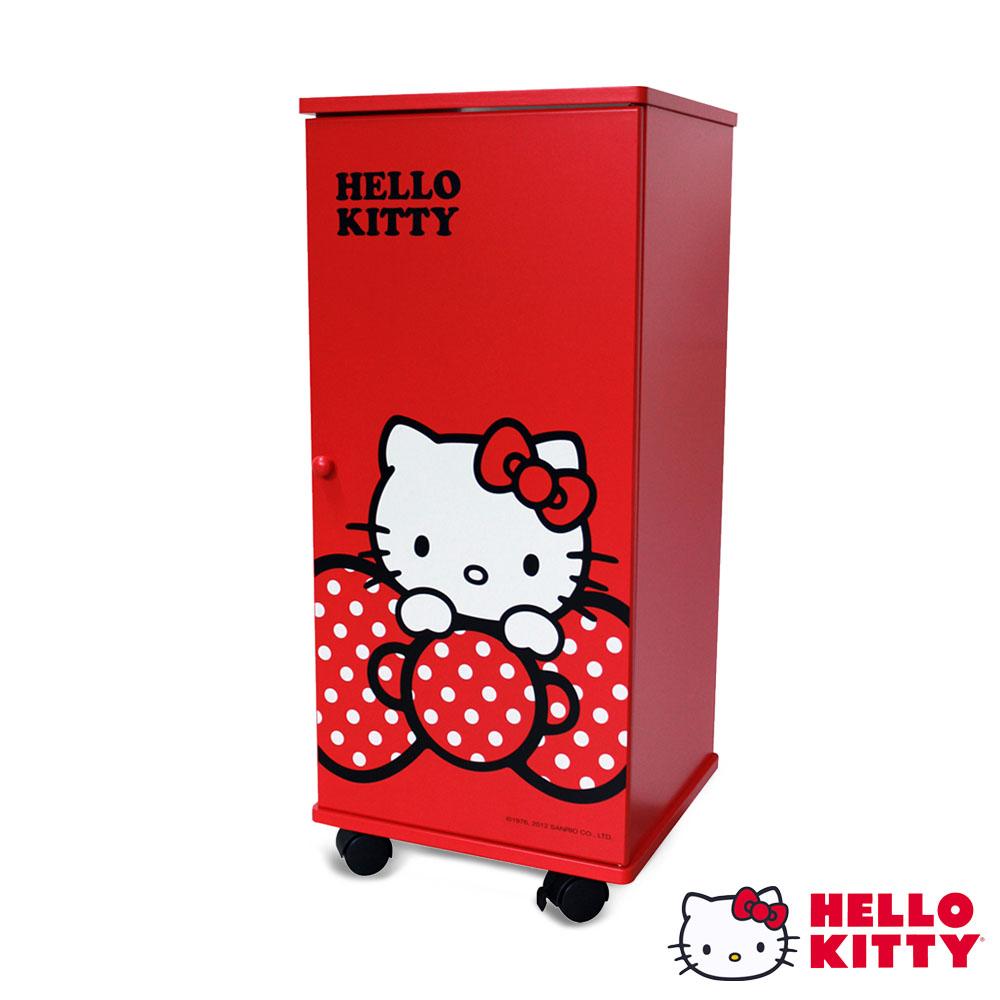 Hello Kitty 凱蒂貓 大蝴蝶結DIY活動三層滾輪櫃 活動櫃 置物櫃 收藏櫃-紅色