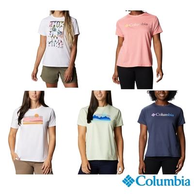 Columbia 哥倫比亞 女款- UPF50快排LOGO短袖上衣-5色  UAR21910